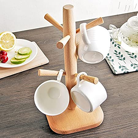 Unfinished Beech Wood Coffee Mug Tree Tea Cup Holder Stand