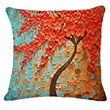 Decorative Pillow Cover - Oil Painting Black Large Tree and Flower Birds Cotton Linen Throw Pillow Case Cushion Cover Home Sofa Decorative 18 X 18 Inch (Brown Tree)