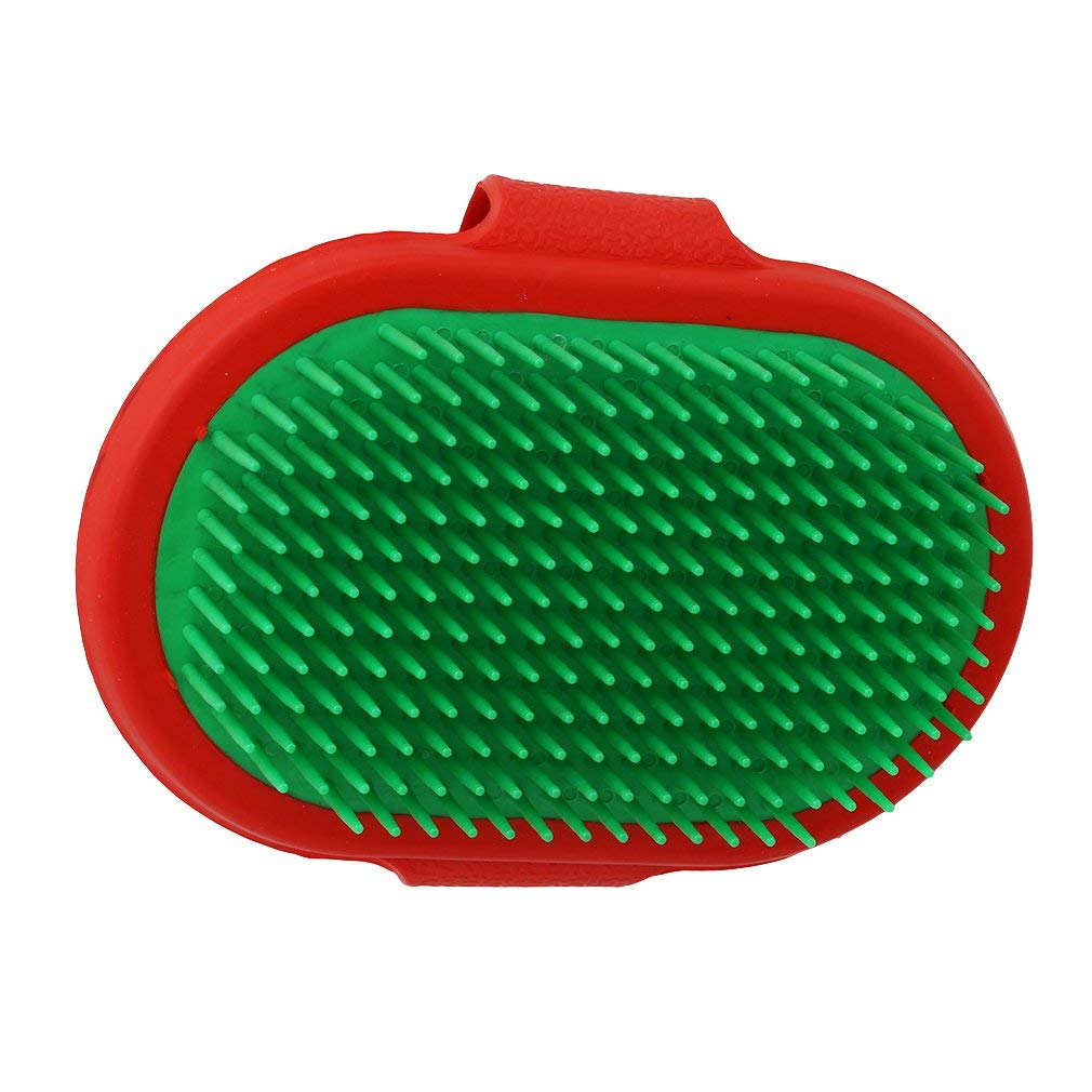 Yevison Pet Dog Cat Grooming Brush Comb Shower Bath Massage Comb with Adjustable Strap, Red Green