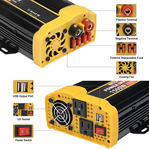 Vetomile 1500W Power Inverter DC 12V to AC 110V Car Inverter with 2.1A Dual USB Car Adapter by Vetomile (Image #5)