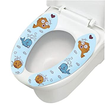 Elegant 2 Pairs Cute Healthy Sticky Portable Toilet Seat Covers, [Blue Whale] 15.43.