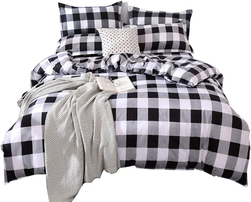 TEALP Buffalo Check Bedding Set 3 Piece Duvet Cover Full with Zipper Closure (Full, Black and White)