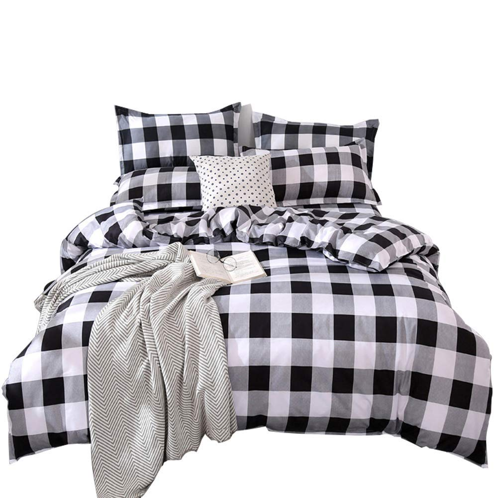 TEALP Buffalo Plaid Bedding Set King Duvet Cover with Zipper Closure (King, Black and White)