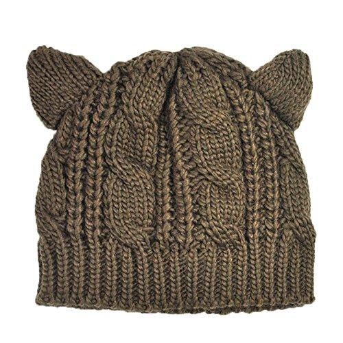 AINOW Women's Hat Cat Ear Crochet Braided Knit Caps (Coffee)