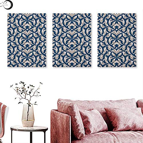 Gothic Wall hangings Floral Ornament Antique Retro Revival Pattern with Royal Abstract Curves Wall Panel Art Dark Blue Brown White W 12