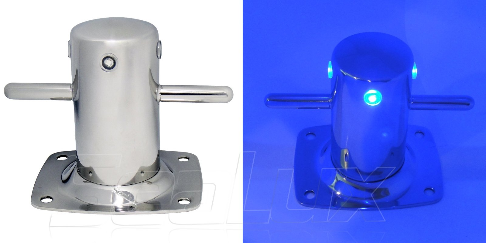 SeaLux Marine Mooring Bollard with integrated BLUE LED lighting 316 Stainless Steel 6-1/2'' Samson Post Cross Cleat for Yacht/Boat/Dock