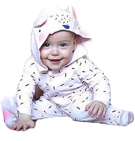 Unisex bebé ropa de algodón con capucha disfraz bebé Pelele bebé mono Animal Onesies Talla:
