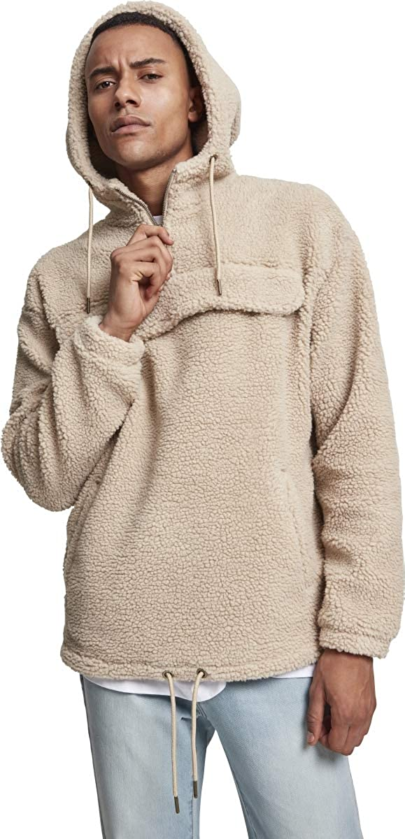 Urban Classics Sherpa Pull Over Hoodie Sweat-Shirt À Capuche Homme Marron (Darksand 00806)