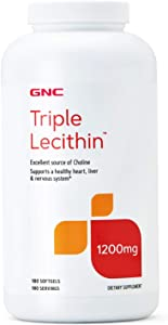 GNC Triple Lecithin 1200mg, 180 Softgels, Supports a Healthy Heart, Liver and Nervous System