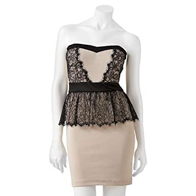 746702bdf33a5f Image Unavailable. Image not available for. Color: Lily Rose Lace Peplum  Size Small Dress - Juniors
