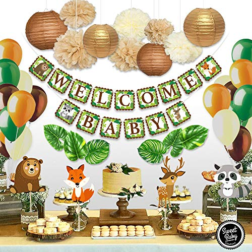 Sweet Baby Co. Woodland Animals Baby Shower Decorations Neutral Party Supplies With Welcome Baby Banner, Forest Animal Creatures Cut Outs, Balloons, Leaves, Paper Lanterns, Flower Pom Poms]()