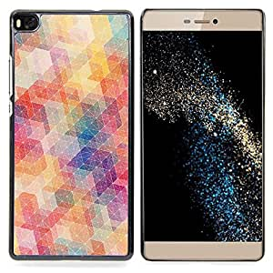Polygon Pattern Abstract Pastel Colors Caja protectora de pl??stico duro Dise?¡Àado King Case For HUAWEI P8