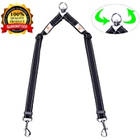 "Double Dog Leash Coupler - Snagle Paw No Tangle Double Dog Walking & Trainning Leash, Adjustable 1"" Dual Reflective Splitter Lead - Choose Regular 11-20"" or X-Long 16-28"" - Easily Walk 2 Dogs"