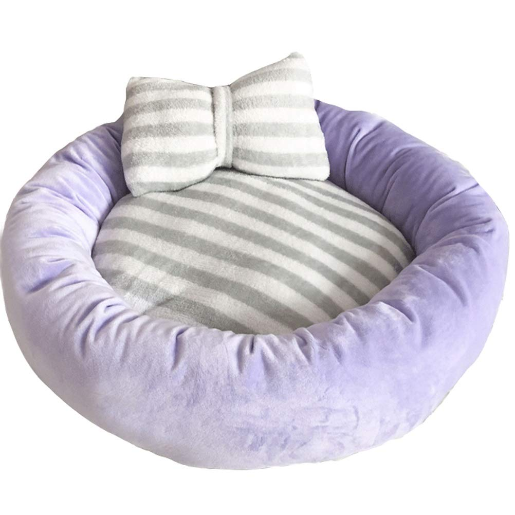 PURPLE S PURPLE S GCHOME Dog bed Cat Bed,Washable Non-slip Dog Kennel Cat Nest Sleeping Bag,Removable Waterproof Plush Warm Cushion Indoor Small Pet Nest (color   PURPLE, Size   S)