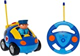 SGILE Remote Control Cartoon Car for Toddlers, RC Police Car Toy with Light and Music, Present for 3 Years Old Kids