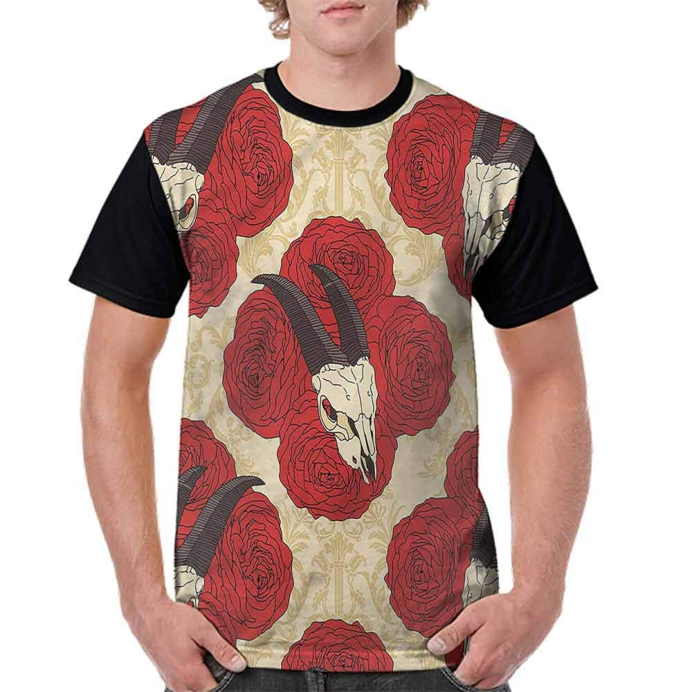 Casual Short Sleeve Graphic Tee Shirts,Baroque Floral Skulls Fashion Personality Customization
