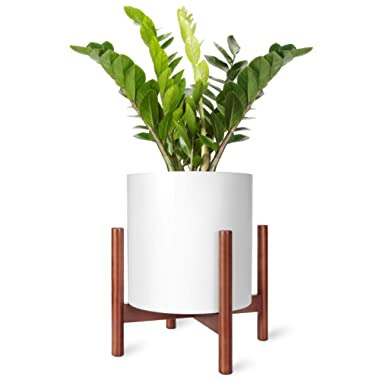 Mkono Plant Stand Mid Century Wood Flower Pot Holder Display Potted Rack Rustic, Up to 14 Inch Planter (Plant and Pot NOT Included), Brown