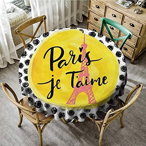 DONEECKL Washable Tablecloth Paris City Decor Eiffel Tower with Paris Table Decoration D59 I Love You Message Polka Dot Background Vintage Art]()