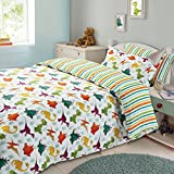 Dreamscene Kids Duvet Cover Pillowcase Bedding Set Boys Girls Dinosaur Reversible Stripe - Double
