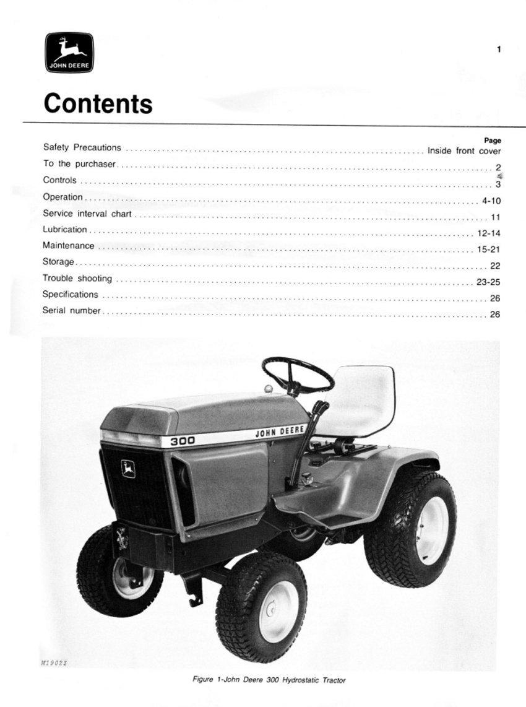Amazon.com : John Deere JD 300 Lawn & Garden Tractor Manual pack : Garden &  Outdoor