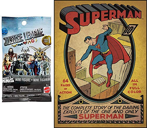 Mighty Super Man Hero Pack Mini Figure Justice League Minis Blind Bag Bundled with Large Poster Decal Comic Book Cover - Superman Issue #1 Peel & Stick Comic Book Wall / Room Cover 2-Items]()