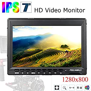 "Feelworld FW759 7 inch Ultra HD 1280x800 IPS Screen Camera Field Monitor for BMPCC with 11"" Magic Adjustable Arm and 15mm Rod Clamp"