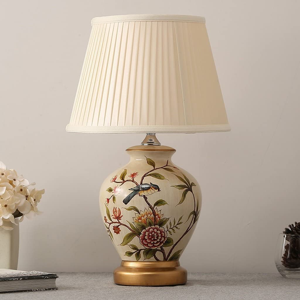 Ceramic table lamp GX Bedside Lamp, Vintage Painting E27 Light Source Cloth Lampshade Creative Desk Lamp for Bedroom Living Room (Color : Button) Button