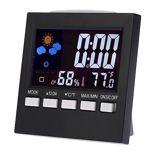 everpert Digital LCD Alarma Reloj termómetro interior/exterior higrómetro