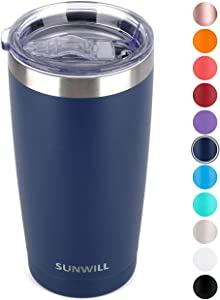 SUNWILL 20oz Tumbler with Lid, Stainless Steel Vacuum Insulated Double Wall Travel Tumbler, Durable Insulated Coffee Mug, Powder Coated Navy, Thermal Cup with Splash Proof Sliding Lid