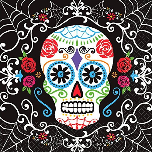 Amscan Day of the Dead Sugar Skull Disposable Luncheon Paper Napkins (36 Piece), Multicolor, 6.5