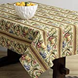 Corona Decor Fruit Design Italian Heavy Weight Tablecloth, 50 by 90-Inch, Cream
