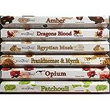 Stamford Premium Hex Range Incense Sticks - Amber, Dragons Blood, Egyptian Musk, Frankincense & Myrrh, Opium & Patchouli. 20 sticks per fragrance (120 sticks) by Stamford