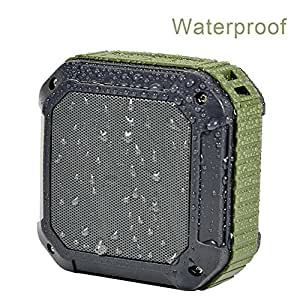 ETvalley Waterproof Outdoor Portable Mini Bluetooth Stereo Speakers, Mountain, Sea or Shower Speaker-Dustproof-Sand proof – Green/Black