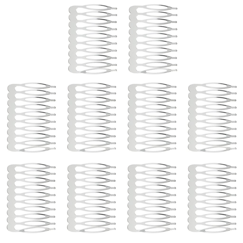 Dovewill 10 Pieces Blank Hair Clips Combs Pins Barrettes Wedding Bridal Metal Hair Combs Clips DIY Hair Bows Findings