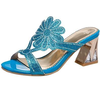AIYOUMEI Damen Stilettos High Heels Pantoffeln mit Blumen und Perlen Sommer Sandalen Slipper Mules QCYN3cISm