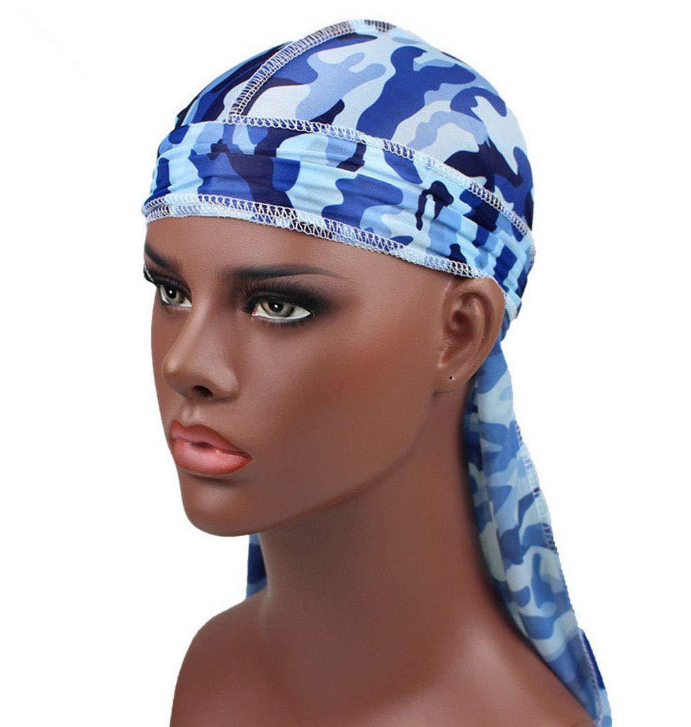 Hip-hop Tone Men Silky Durag Cap Headwrap Long Tail 360 Waves Du-rag Hat (One Size, Camo(Blue))