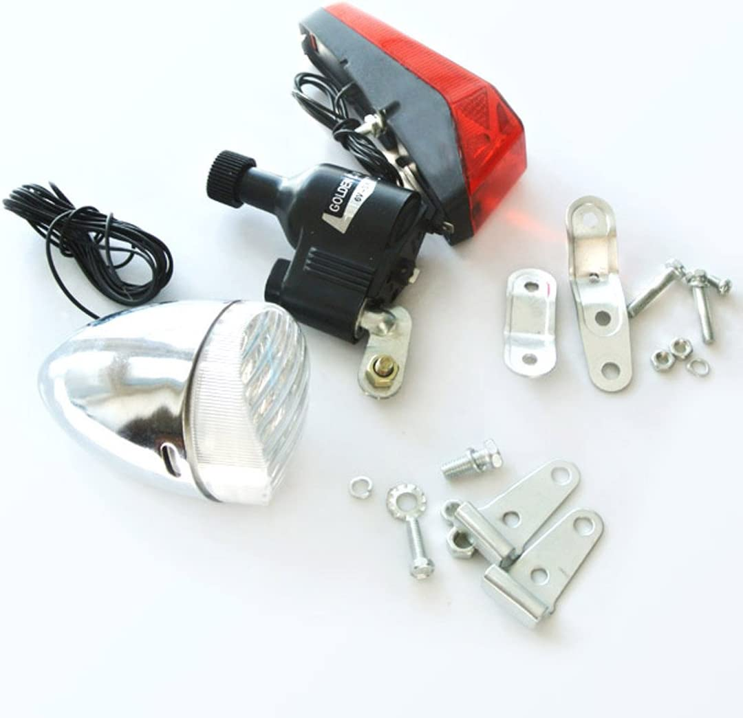 6V 3W Bicycle Motorized Bike Friction generator Dynamo Headlight Tail Light Kit