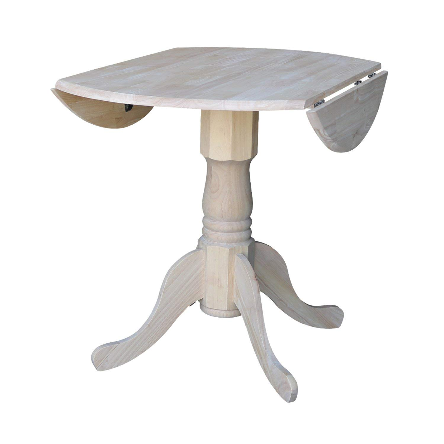 ACCENTHOME Round Dining Table Drop Leaf Unfinished Solid Parawood Space Saving Rustic Country Kitchen Furniture