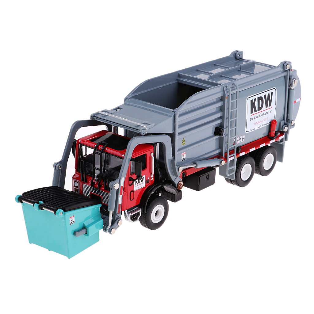 Flameer 1 24 Diecast PullBack Gliding Dump Rubbish Truck Toy Model Environment Toy