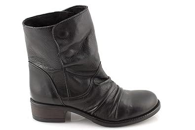 aspetto dettagliato qualità perfetta rivenditore di vendita Stivali Donna Invernali Stivaletti Bassi Biker Boots con Risvolto Scarpe  Tacco Basso in pelleDAMIN0155