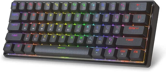 KEMOVE Shadow Bluetooth 5.1 Wireless/Wired 60% Mechanical Gaming Keyboard - RGB Backlit 61 Keys Keyboard - Hot Swappable, PBT Keycap, Full Keys Programmable - Black (Gateron Mechanical Blue Switch)