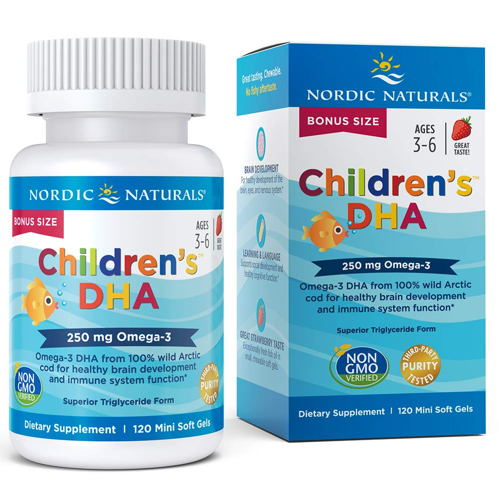 Nordic Naturals Children's DHA Strawberry - Children's Fish Oil Supplement for Healthy Cognitive Development and Immune Function*, Bonus Size 120 Count by Nordic Naturals