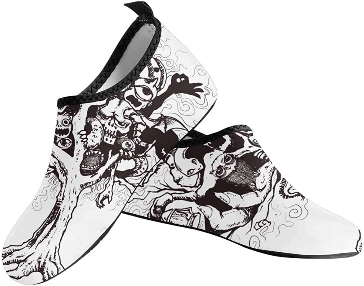 INTERESTPRINT Mens Water Shoes Tree Ghost Quick Dry Aqua Beach Shoes