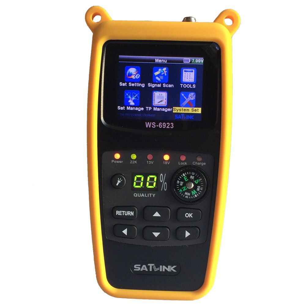 SATLINK WS-6923 DVB-S2 2.4 Inch LCD Digital Satellite Meter Finder FTA QPSK with Compass by SatLink