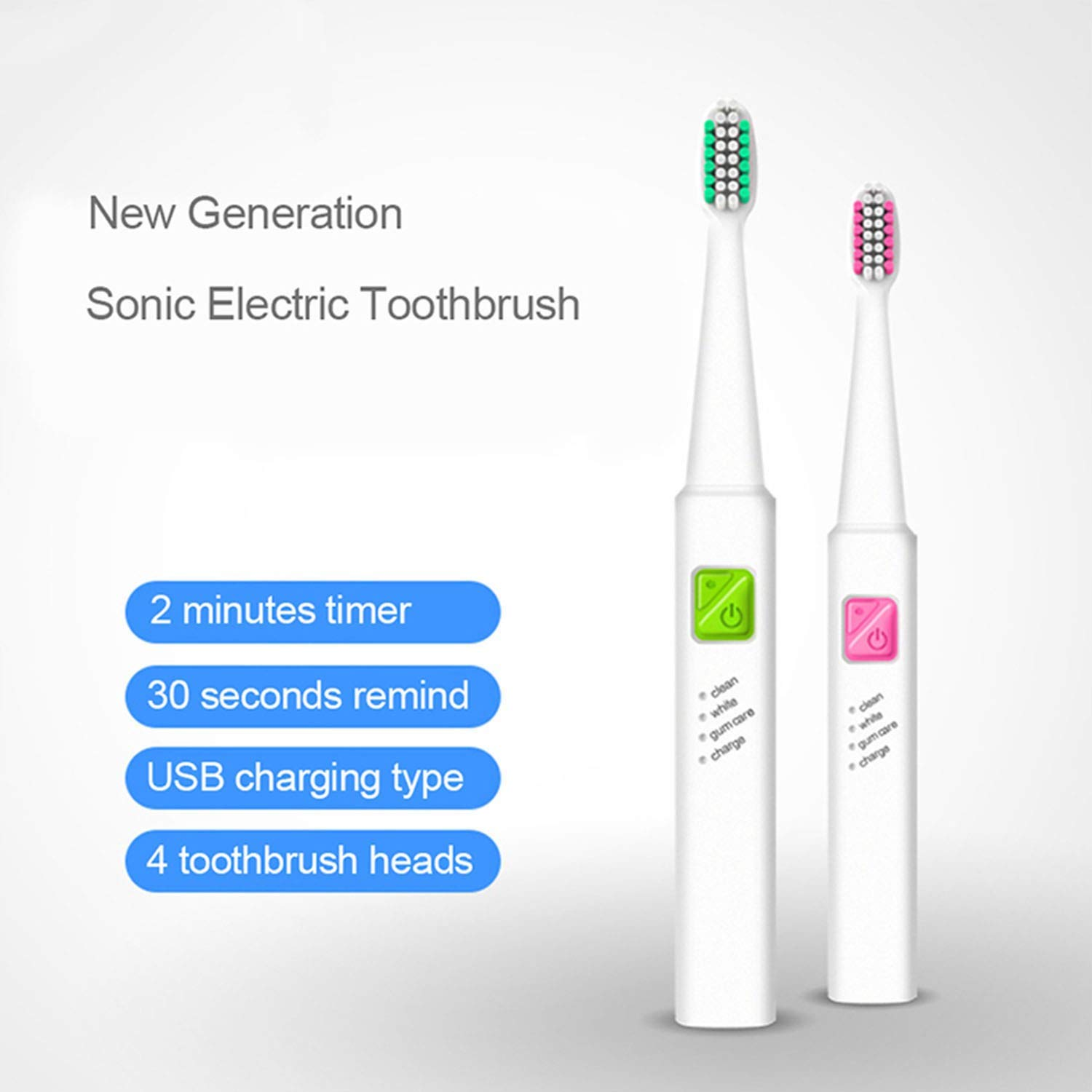 Amazon.com: Christmas Gift Ultrasonic Sonic Electric Toothbrush USB Rechargeable Tooth Brushes With 4 Pcs Replacement Heads,4 heads full purple: Beauty