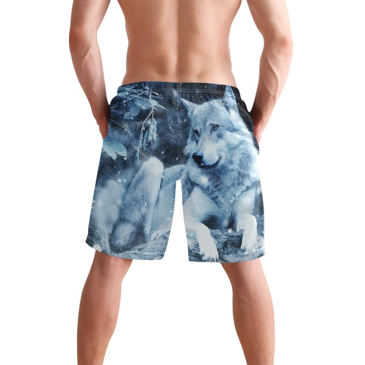 Mens Beach Swim Trunks Wolf Snowflake Night Boxer Swimsuit Underwear Board Shorts with Pocket