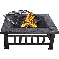 LARS360 Fire Pit Braséro pour Barbecue avec Grille à étincelles