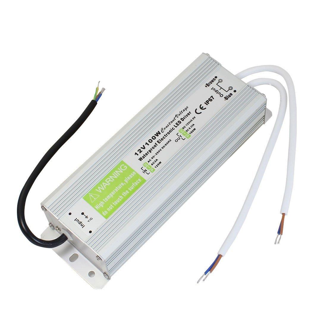 AC90 ~ 250V DC12V a 100 vatios transformador IP67 conductor del LED a prueba de agua de alimentación