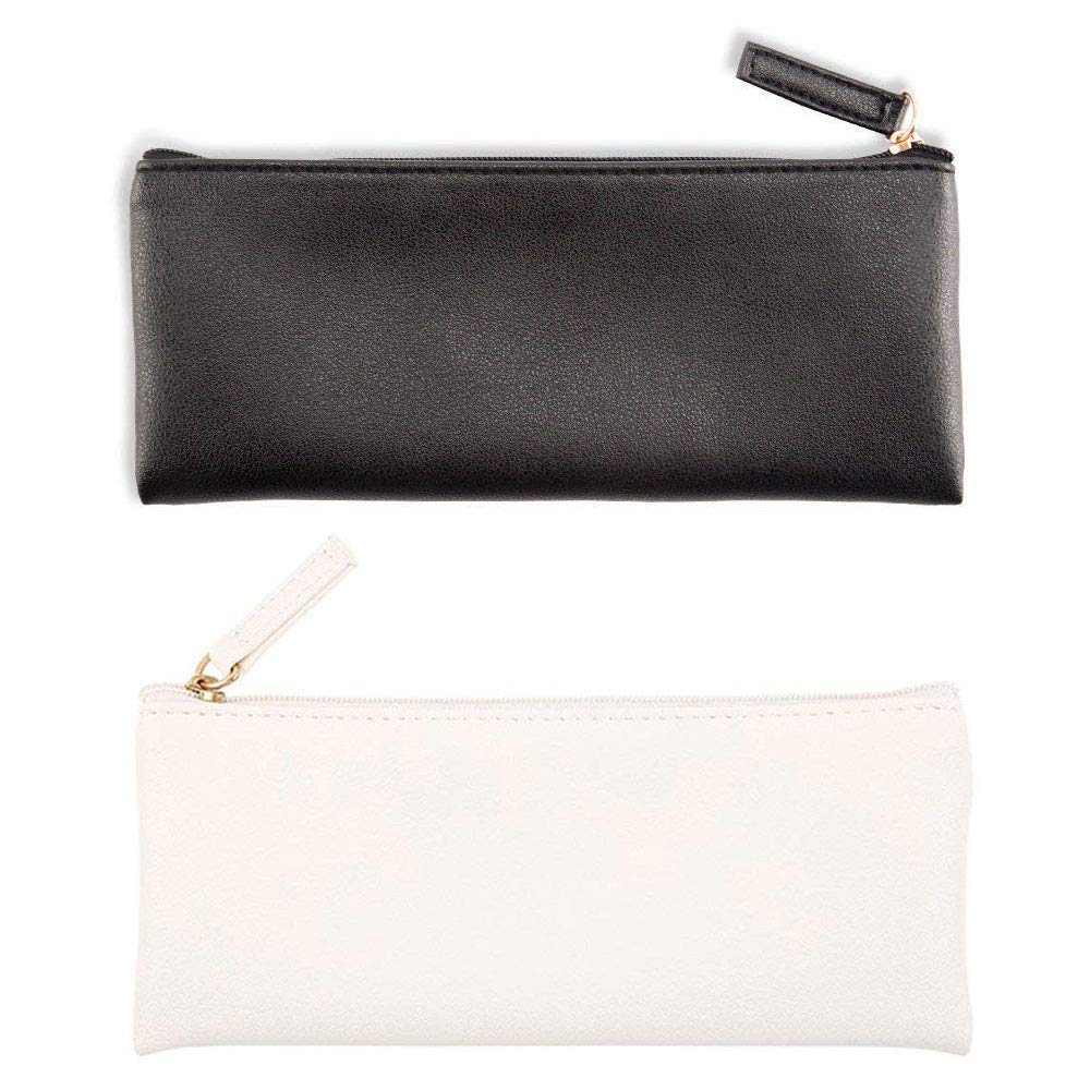 PU Leather Pencil Case Pouch Bag Small Pencils Pouch Makeup Pouch Makeup Case Cosmetic Pouch with Zipper for Girls,Boys,School,Office Travel (Black and White)