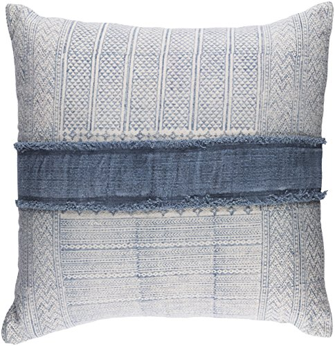 Surya Lola Neutral and Blue 30-Inch Pillow (Lola Pillow)